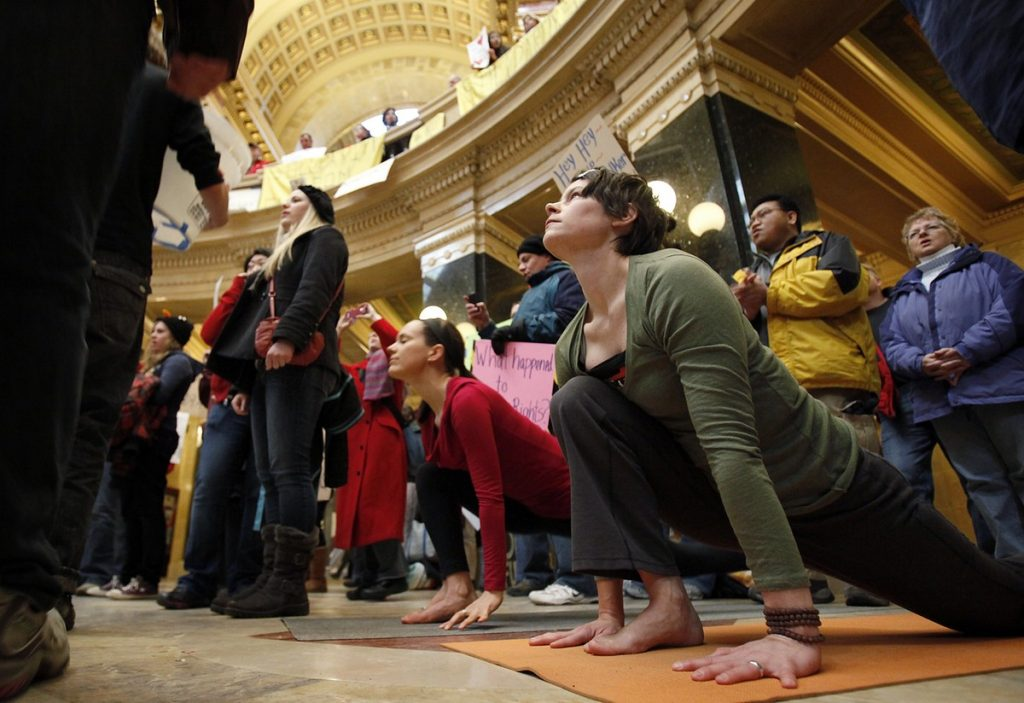 Practice & protest: Madison, WI, Capitol building, 2011. Photo: Michael P. King (mpkingphoto.com)